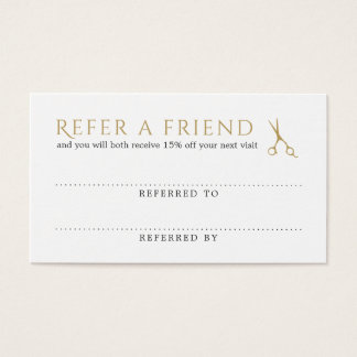 Elegant Clean White Faux Gold Scissors Referral Business Card