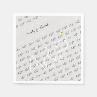 elegant, clear and simple monogram light-gray disposable napkins