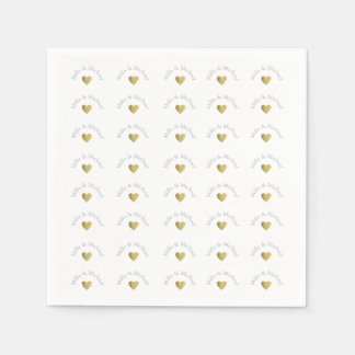 elegant, clear and simple monogram of love, white paper napkin