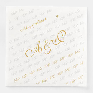 elegant, clear and simple monogram white paper napkins