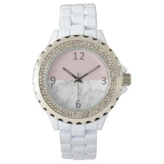 elegant clear blush pink marble geometric circle watch