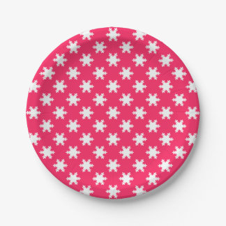 elegant clear Christmas snowflakes pattern blue Paper Plate