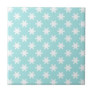 elegant clear Christmas snowflakes pattern blue Tile