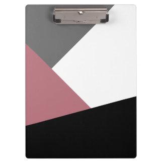 elegant clear dusty pink, black, grey geometrics clipboards