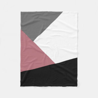 elegant clear dusty pink, black, grey geometrics fleece blanket