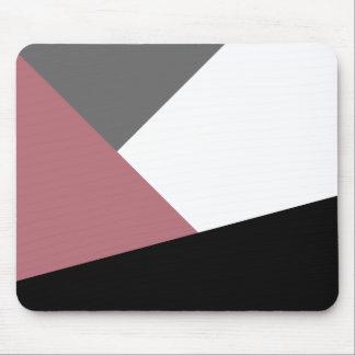 elegant clear dusty pink, black, grey geometrics mouse pad