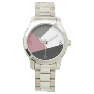 elegant clear dusty pink, black, grey geometrics watch