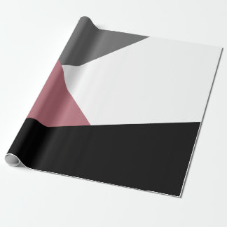 elegant clear dusty pink, black, grey geometrics wrapping paper