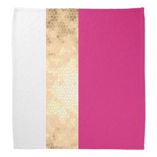 elegant clear faux gold foil pink white stripes head kerchiefs