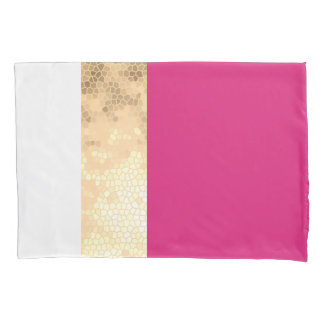elegant clear faux gold foil pink white stripes pillowcase