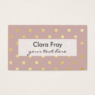 elegant clear faux gold foil polka dots business card
