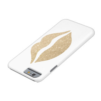 elegant clear faux gold glitter lips barely there iPhone 6 case