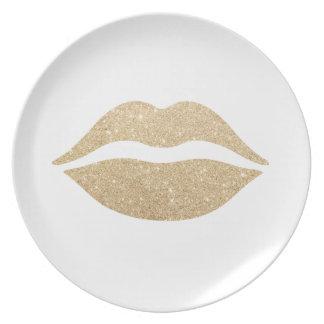elegant clear faux gold glitter lips dinner plates