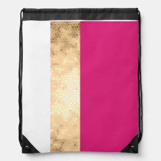 elegant clear faux gold pink white stripes drawstring bag