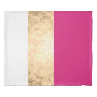 elegant clear faux gold pink white stripes duvet cover