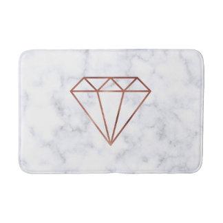 elegant clear faux rose gold diamond white marble bath mat