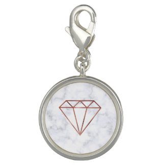 elegant clear faux rose gold diamond white marble charm