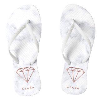elegant clear faux rose gold diamond white marble flip flops