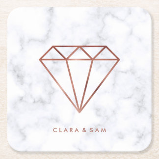 elegant clear faux rose gold diamond white marble square paper coaster