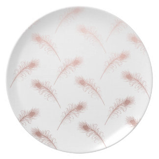 elegant clear faux rose gold feathers pattern plate