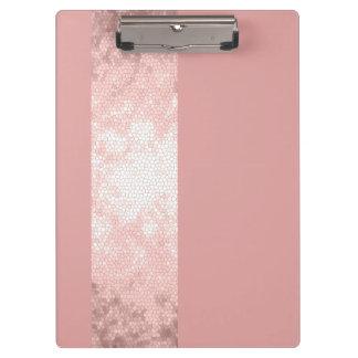 elegant clear faux rose gold pink stripes clipboard