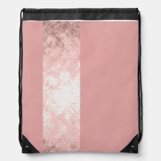 elegant clear faux rose gold pink stripes drawstring bag