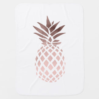 elegant clear faux rose gold tropical pineapple baby blanket