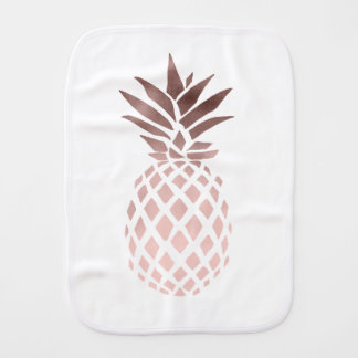 elegant clear faux rose gold tropical pineapple burp cloth