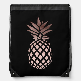 elegant clear faux rose gold tropical pineapple drawstring bag