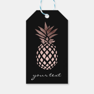 elegant clear faux rose gold tropical pineapple gift tags