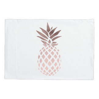 elegant clear faux rose gold tropical pineapple pillowcase