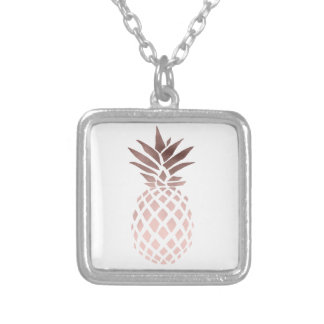 elegant clear faux rose gold tropical pineapple silver plated necklace