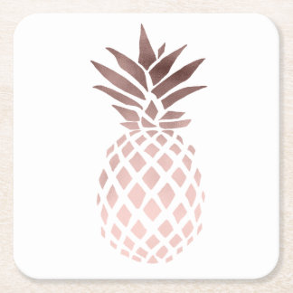 elegant clear faux rose gold tropical pineapple square paper coaster