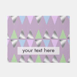 elegant clear faux silver foil geometric triangles doormat