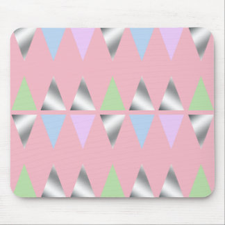 elegant clear faux silver foil geometric triangles mouse pad