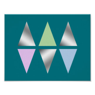 elegant clear faux silver foil geometric triangles poster