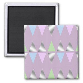 elegant clear faux silver foil geometric triangles square magnet