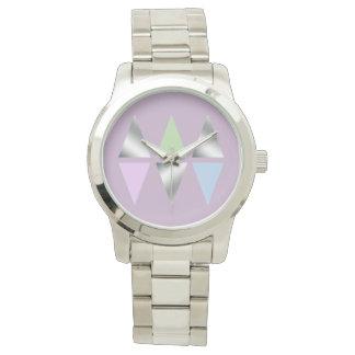 elegant clear faux silver foil geometric triangles watch