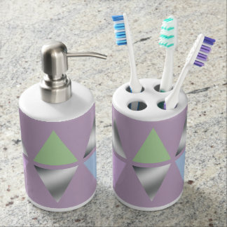 elegant clear faux silver geometric triangles bathroom set