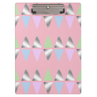 elegant clear faux silver geometric triangles clipboard