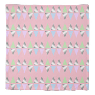 elegant clear faux silver geometric triangles duvet cover