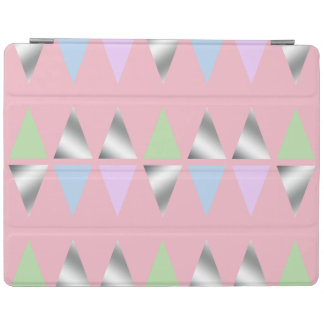 elegant clear faux silver geometric triangles iPad cover