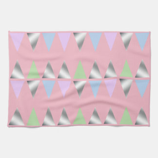 elegant clear faux silver geometric triangles kitchen towel