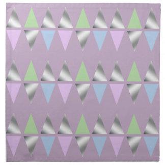 elegant clear faux silver geometric triangles napkin