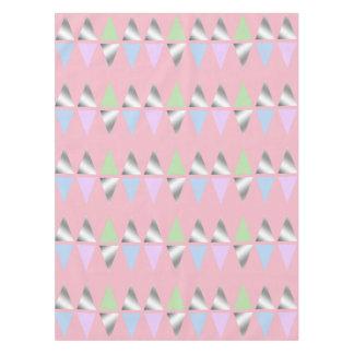 elegant clear faux silver geometric triangles tablecloth