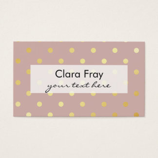 elegant, clear gold foil polka dots pattern business card