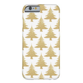 elegant clear gold glitter Christmas tree pattern Barely There iPhone 6 Case