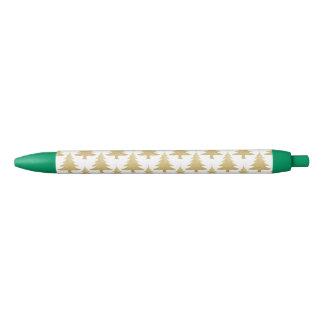 elegant clear gold glitter Christmas tree pattern Black Ink Pen