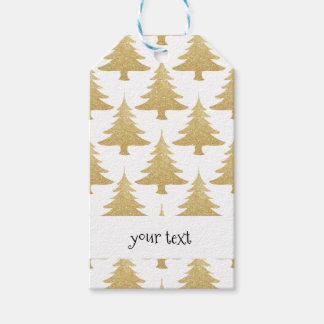 elegant clear gold glitter Christmas tree pattern Gift Tags