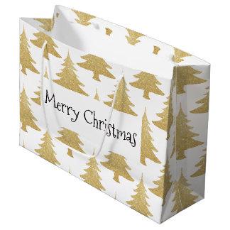 elegant clear gold glitter Christmas tree pattern Large Gift Bag